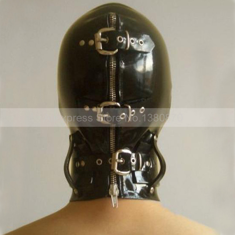 0.6mm Latex Bondage Hood Latex Masker Blinder door Snap en Hals Band Hoofd Strakke Sluiting Metalen Ring S-LM077