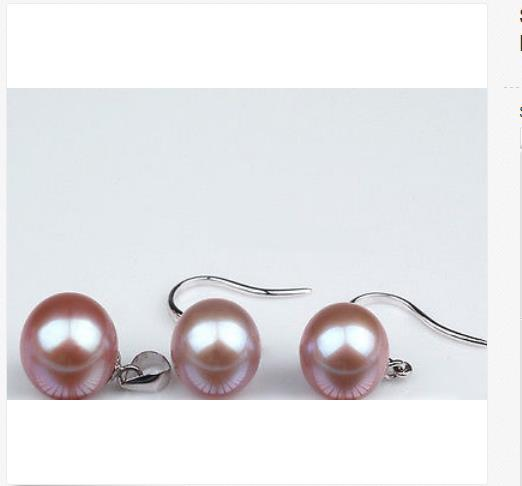 gorgeous 10-11mm south sea round lavender pearl pendant &earring 925sgorgeous 10-11mm south sea round lavender pearl pendant &earring 925s