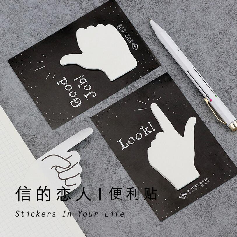 30Sheet Creative 4 styles Gestures Self-Adhesive New Message Memo Pad Post It Sticky Notes Bookmark Office Stationery Supply7099