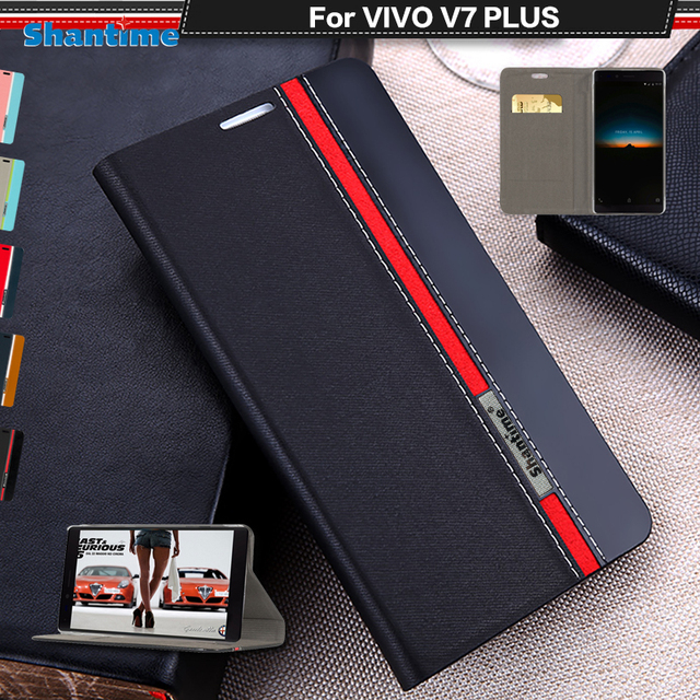 reputable site 852c8 bc386 US $4.88  Book Case For Vivo V7 Plus Luxury PU Leather Wallet Flip Cover  For Vivo V7 Plus Silicon Soft Back Cover-in Wallet Cases from Cellphones &  ...