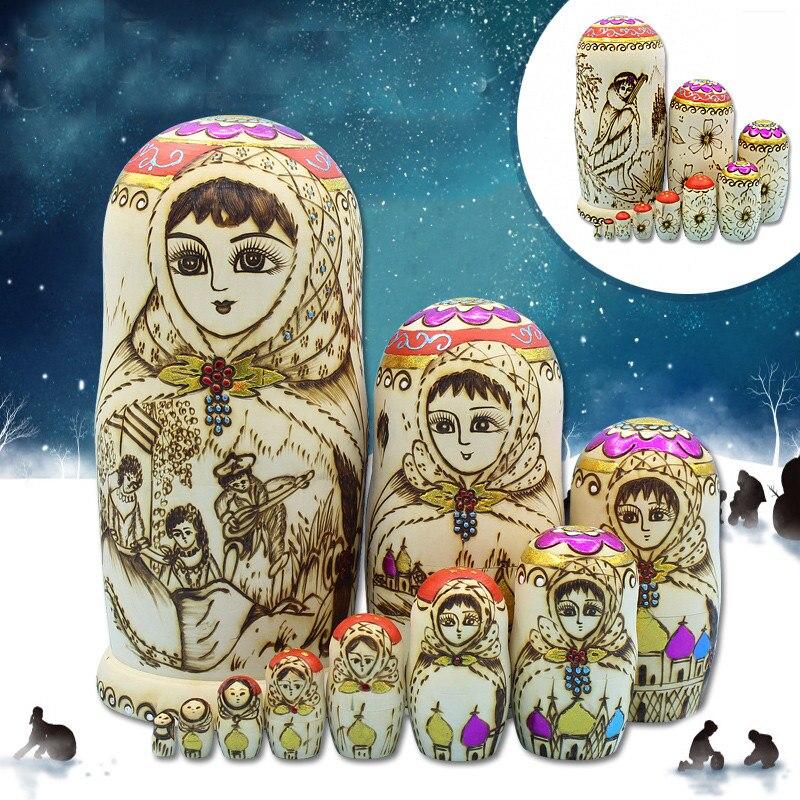 Mode grand 10 couches sculpté artisanat russe poupées sec tilleul nid Matryoshka poupée fait à la main en bois poupées ethniques L30