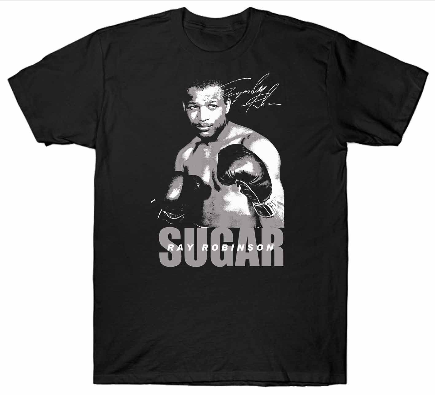 SUGAR RAY ROBINSON T SHIRT BOXER BOXING GLOVES Casual Short Sleeve T shirt Novelty