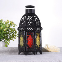 Moroccan Style Matte Black Cast Iron Handmade Octagonal Candle Lantern With Glass Decoration For Living Room