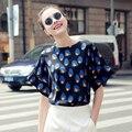 Nueva moda de verano 2017 top tees batwing manga mujeres camisetas sueltas estilo elegante camisa extranjero clothing mujeres tops