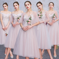 2019 Summer Women Dress Elegant Luxury Sexy Embroidery Formal Wedding Bridesmaids Long Party Dresses Gray Pink