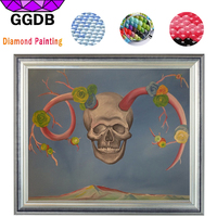 GGDB 2017 New Diy Diamond Embroidery Needlework Skull Head With Horn Skeleton 5D Square Diamond Painting