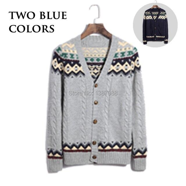 Cardigan suéteres de hombre intarsia tejer patrón de dos colores M ...