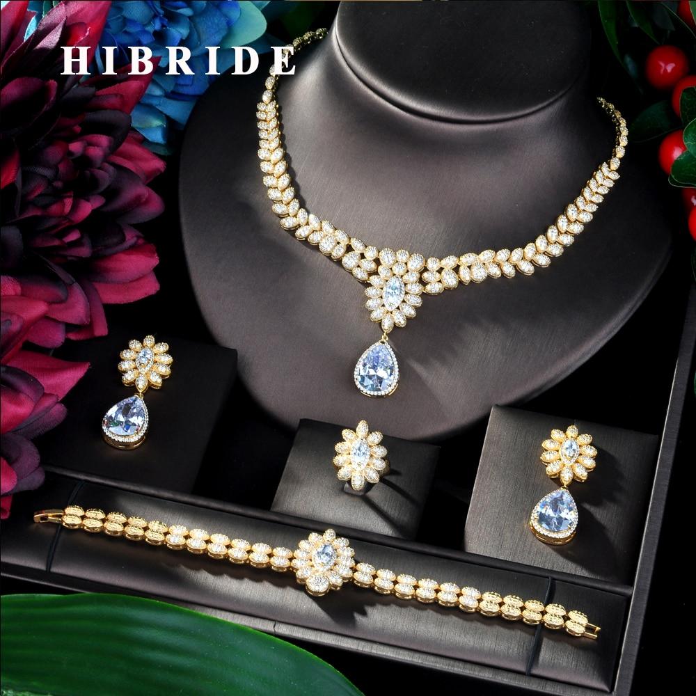 HIBRIDE luxe gland goutte femmes de mariage cubique zircone collier ras du cou boucle d'oreille arabie saoudite bijoux ensemble bijoux dépendance N-46
