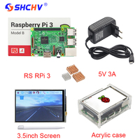 UK Raspberry Pi 3 3 5 Inch Touchscreen Acrylic Case 2 5A Power Adapter USB Switch