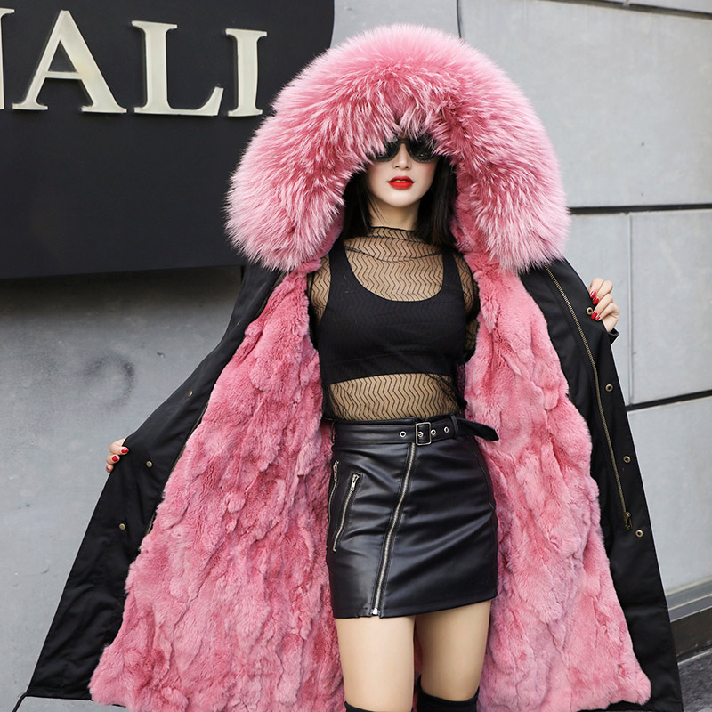2018 Winter Fox Fur Long Parka Women Pink Natural Fur Hooded Coat Rabbit Lining Warm Parkas Ladies