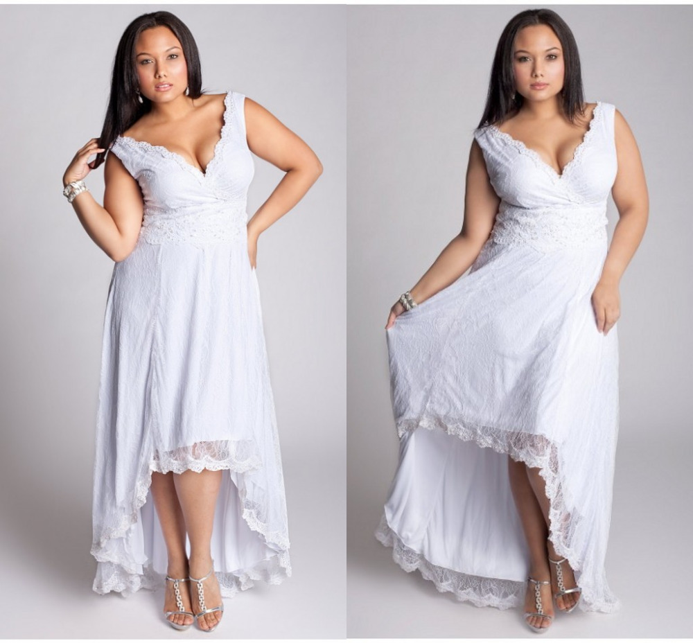 2016 hi lo plus size wedding dresses new years gowns for Plus size country western wedding dresses