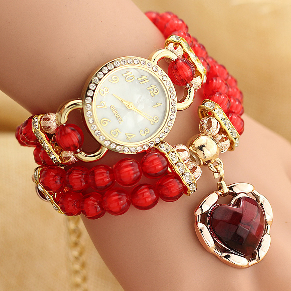 Vintage Acrylic Bead Bracelet Watches Women Ladies Analog Quartz Watch Vogue Casual Dress Watch Clock Relogio Feminino watch women vintage floral printed fabric cloth strap ladies bracelet watches analog quartz wrist watch relogio feminino