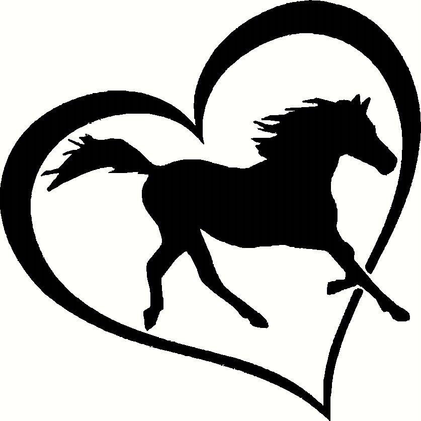 G318 Horse Heart Vinyl Decal Sticker Car Window Bumper Wall Love