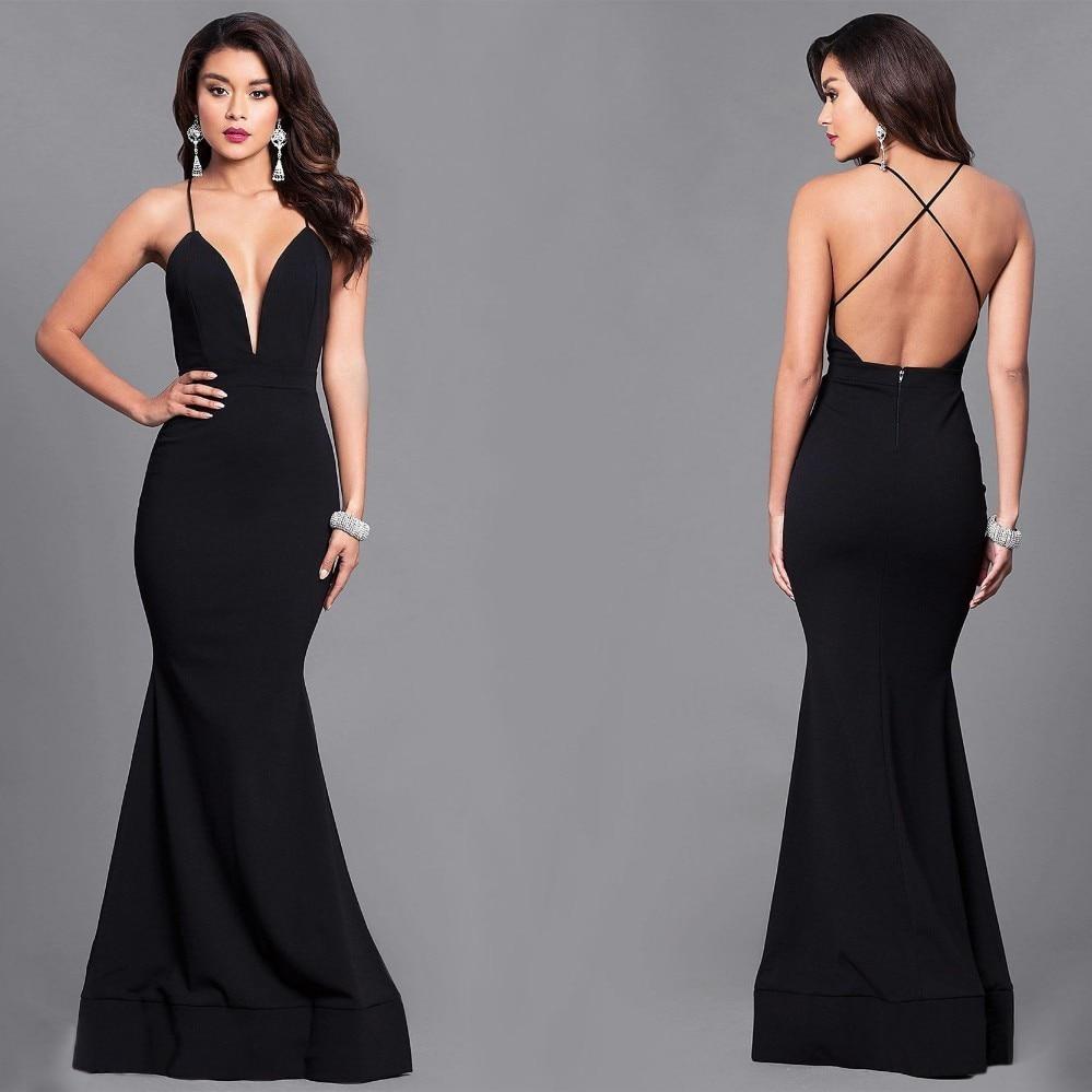 Sexy Deep V Neck Evening Dress...