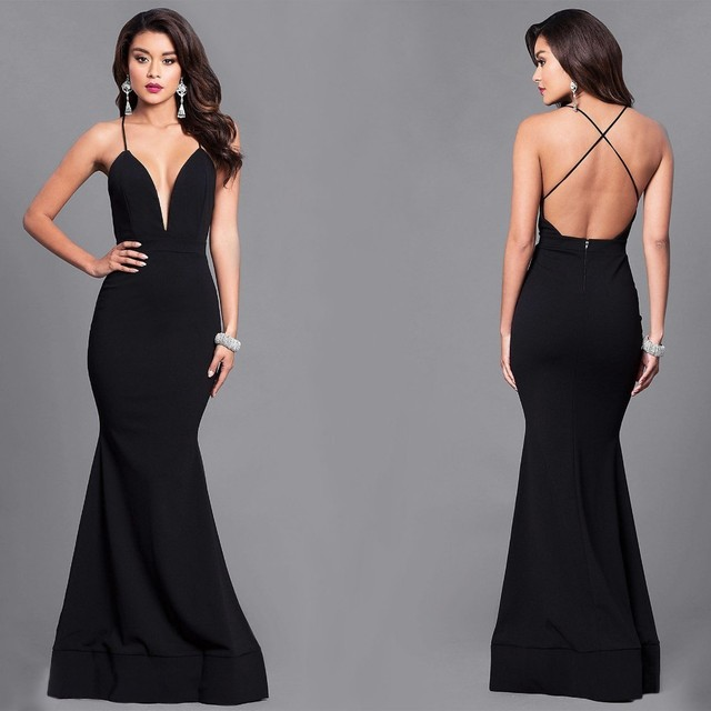 638fea036dffc Sexy Deep V Neck Evening Dresses Long Criss-Cross Backless Mermaid Formal  Gown CG00505BK Black robe de soiree Abendkleider 2018