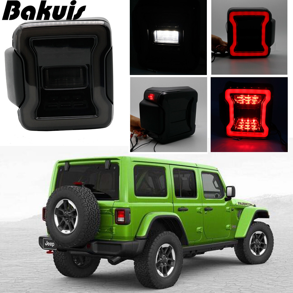 Pour Jeep JL voiture feu arrière USA version fumée arrière clignotant marche arrière/frein lampe EU version fonction ambre pour Jeep Wrangler JL