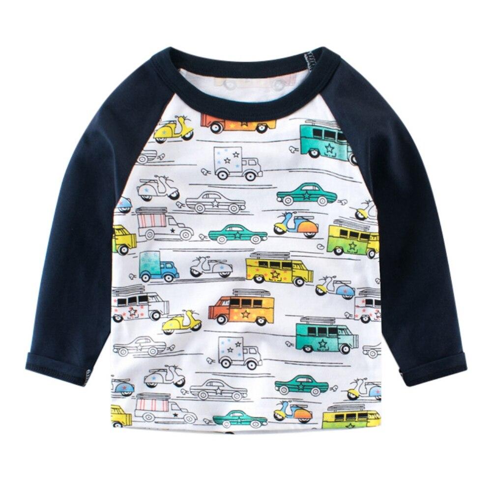 Spring Autumn Boys Long Sleeve Tops Cartoon Car Printed Kids T-shirts for Girl Boy Sweatshirt Boys T shirt Children Clothing