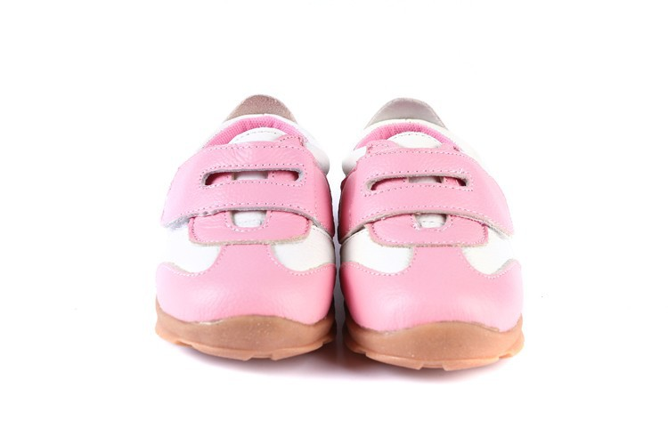 SandQ baby Boys sneakers soccers shoes girls sneakers Children leather shoes pink red black navy genuine leather flexible sole 34