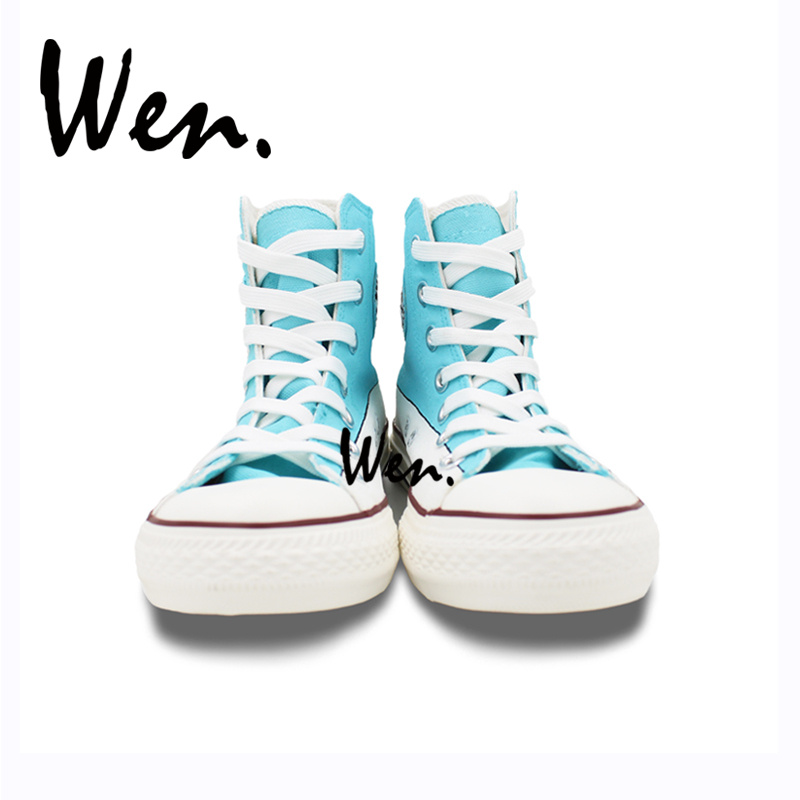Wen High Top Hand Painted Shoes Cute Pug Dog with Diving Goggle Swimming Pool Played Design Custom Adult Unisex Canvas Sneakers