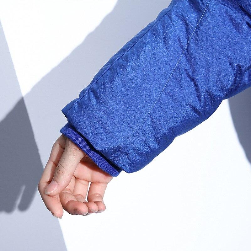Coton Surdimensionné Longues Zipper Lâche Bleu Hiver Manteau Chaud Noir D'hiver Noir Femmes Survêtement rembourré Parkas Veste Automne bleu EwpqvgX
