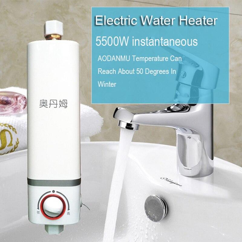 Marca calentador de agua sin tanque Mini hogar eléctrico calentador de agua caliente instantánea 220 V para baño cocina agua del grifo WH002