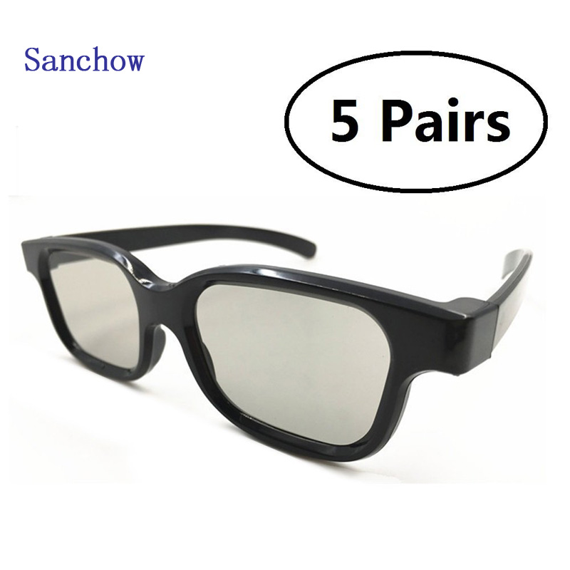 Sanchow 5 Pairs of Universal Passive 3D Glasses for all Passive 3D TVs Cinema and Projectors such as for  Panasonic Sony TVs Mon