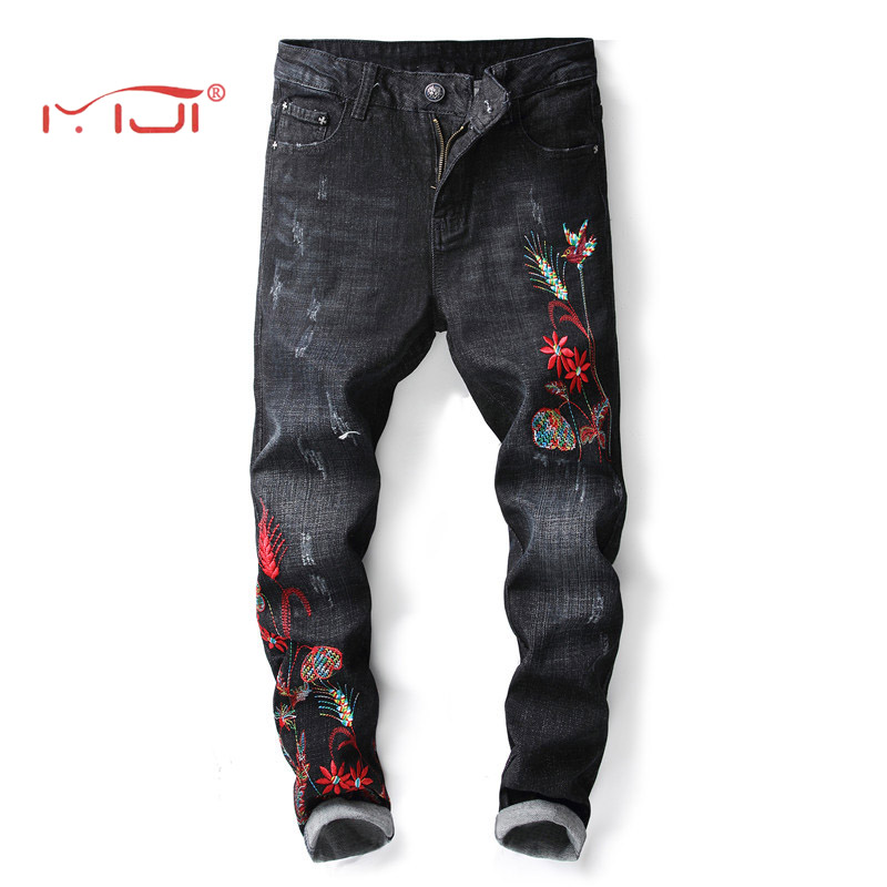 Embroidery Flowers Pattern Mens Jeans Casual Stretch Slim Jeans High Quality 2018 New Mens Fashion Trousers Denim Pants