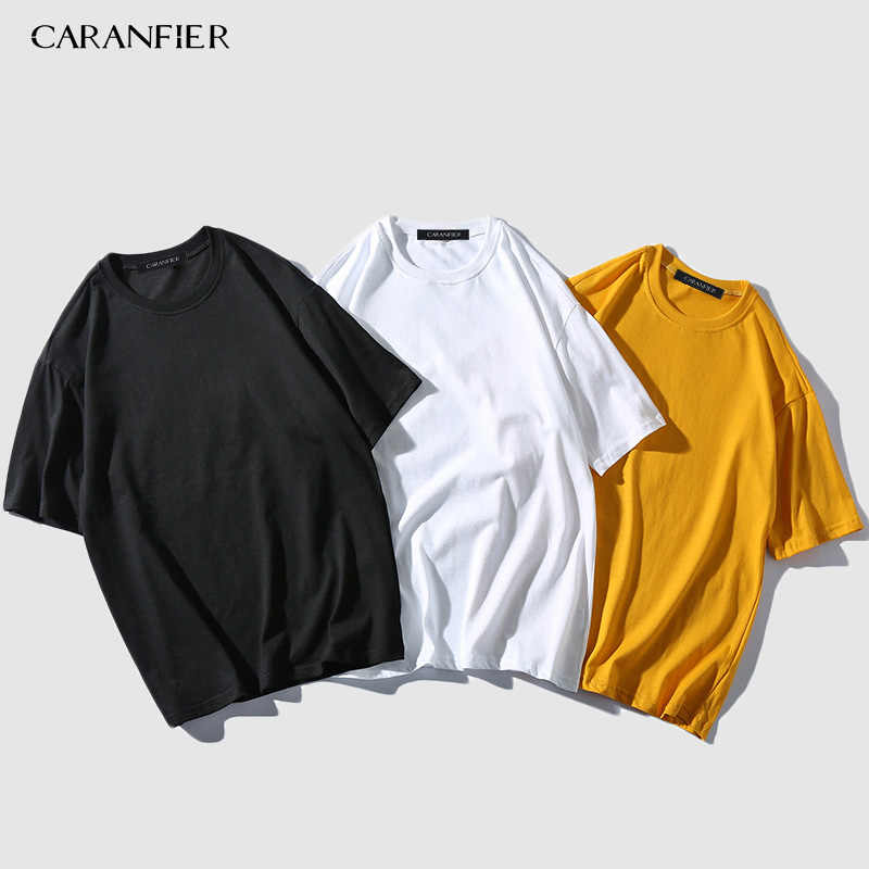 CARANFIER 3PCS 2019 Summer New Solid Basic T Shirt Men Skinny O-neck Cotton Slim Fit Tshirt Male High Quality Breathable Tees