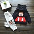 Frete Grátis! Conjuntos de Roupas meninos Meninas Dos Desenhos Animados, crianças hoodies + calças 2 pcs roupa dos miúdos macio desgaste quente e463