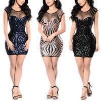 PD1111 6 Fashion Summer Women Sexy Bodycon Dress Sequins Short Sleeve Transparent Mesh Splice Ladies Party Mini Dresses FS99
