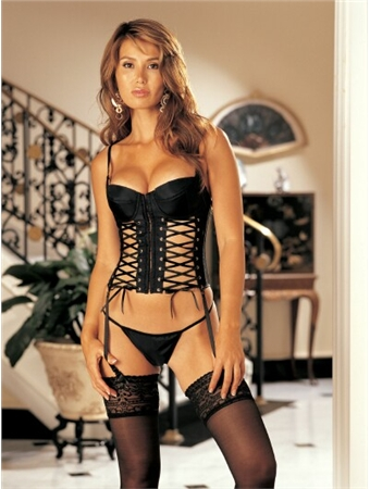 Newest Sexy Lingerie   Bustiers     Corset   Women Lace-up   Bustier     Corset   with G-string Set