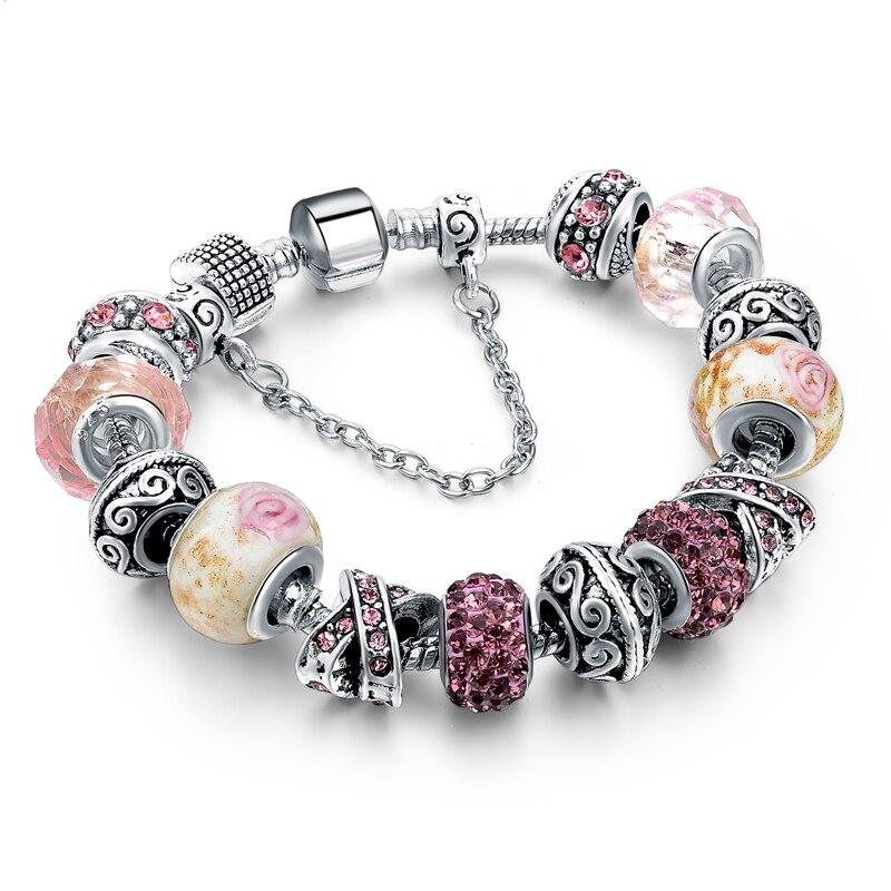 CHICVIE Black Crystal Chain Link Bracelets For Women Female Charm Custom Bracelets & Bangles DIY Silver Color Jewelry SBR160014 24