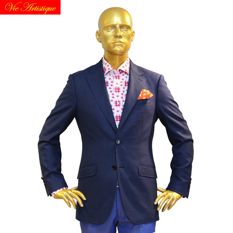 Custom Tailor Made Men's Bespoke Suits Business Formal Wedding Ware Bespoke 2 Piece Jacket Coat Pant Navy Plaid Fine Wool