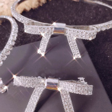 Trendy Shiny Rhinestone Headbands For Women Hair Accessories luxury Crystal bow-knot Clips Silver Metal Hairband Jewelry