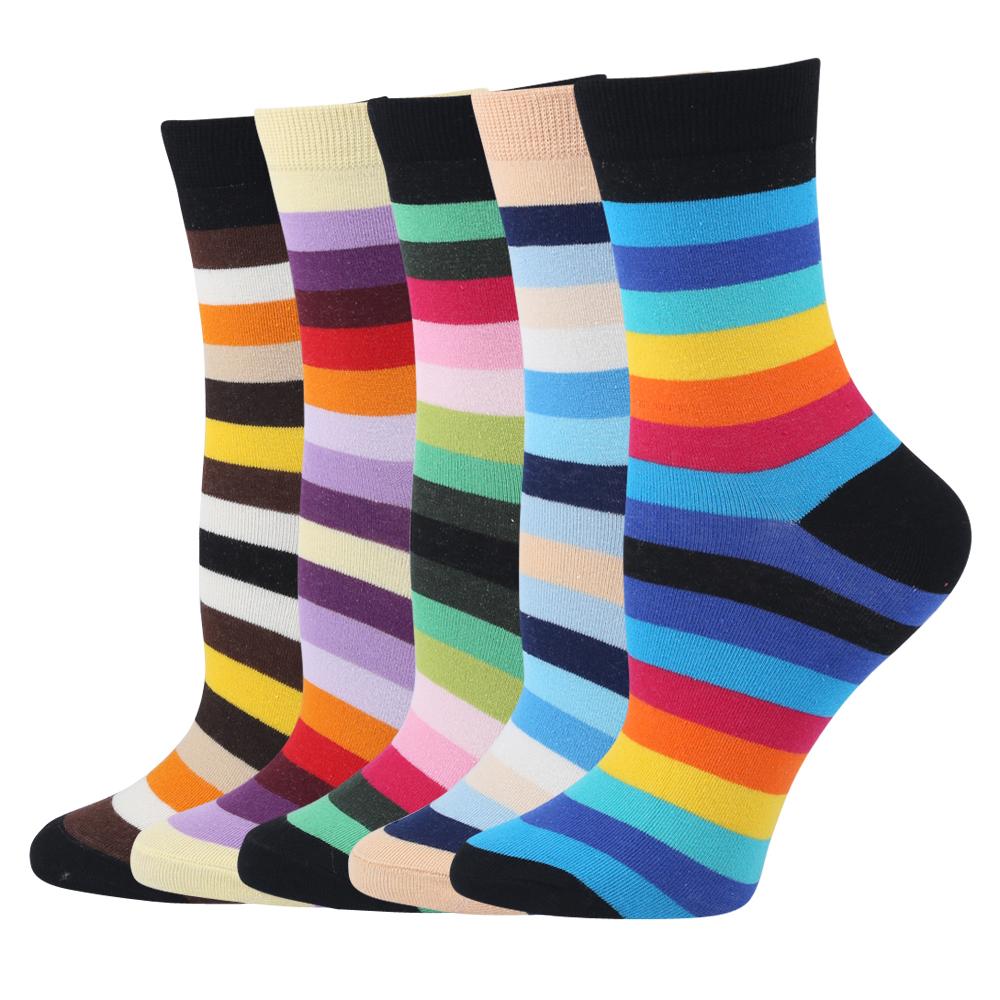 Creative Casual Retro Rainbow Colorful Stripes Crew Socks Women Girl Lady Winter Warm Thick Cotton Socks for Females