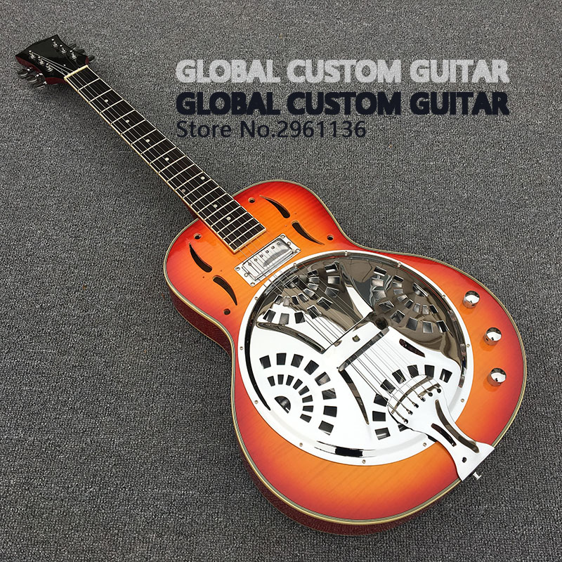 High quality Dobro Resonator Steel Electric Guitar with Flame maple top, Dobro Guitarra, Real photo showing,wholesale!