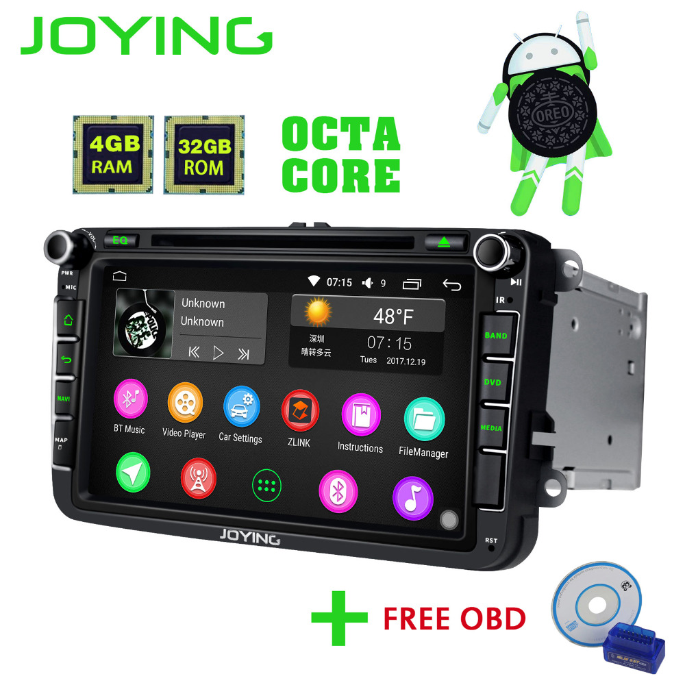 JOYING 2 din Android 8.0 Car Radio 8'' 4GB Ram Auto GPS with Free OBD2 Car Accessories BT For Volkswagen VW Polo Passat Golf 456 joying 2 din android 8 0 car stereo 8 inch 4gb ram auto gps with free rear view camera bt for volkswagen vw polo passat golf 456