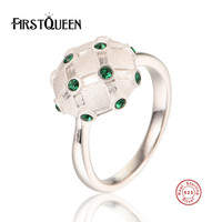 FirstQueen Hotsale 925 Sterling Silver Round Vintage Fascination, Green CZ Big Ring For Women Luxury Fashion Jewelry