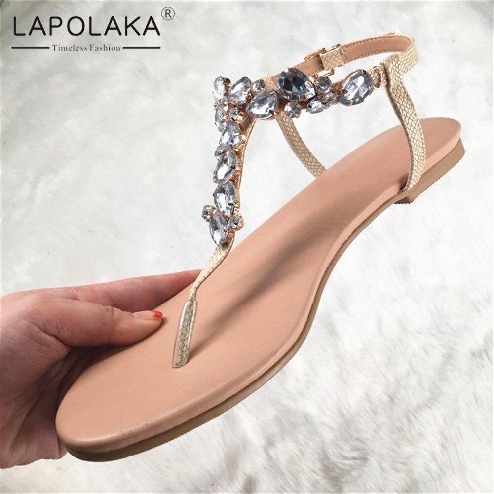 Lapolaka marque Design grande taille 35-47 loisirs cristaux Top qualité plage femmes chaussures d'été chaussures plates femme sandales tongs