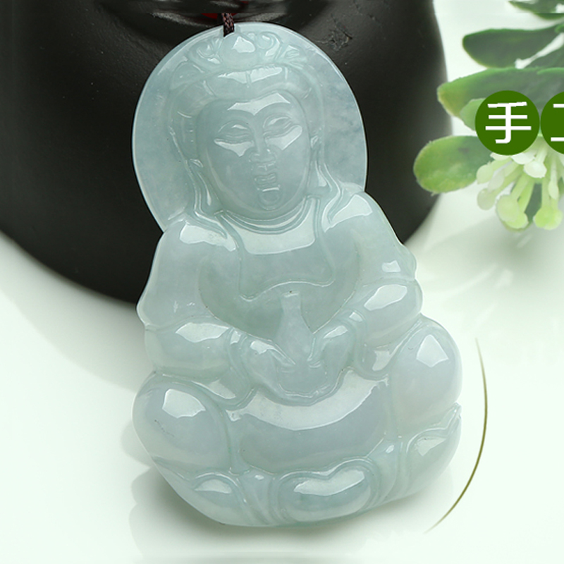 Beautifully Hand-carved natural Myanmar stone Guanyin pendant pendant Men jewelry gifts