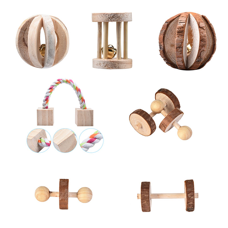Small Pet Toys Pet Accessories 1 PC Chew Toys Pine Dumbells Pet Molars Supplies Guinea Pigs Rat Nature Wood