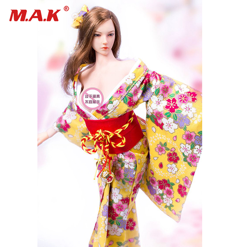 1/6 Scale Short Kimono SHI Bathrobe Red Japanese Clothes F 12'' Female Figure 1/6 Scale Toy Action Figure Accessories hot 1 6 scale shih kien clothing with head bruce lee opponent mr han shi jian hong kong actor figure accessories