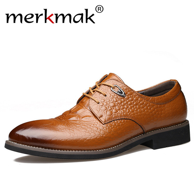 Merkmak Men Dress Shoes Genuine Leather Men's Oxford Shoes Alligator Pattern Derby Shoes Lace-up Plus Size Party Business Flats