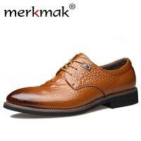 Merkmak Men Dress Shoes Genuine Leather Men's Oxford Shoes Alligator Pattern Derby Shoes Lace up Plus Size Party Business Flats