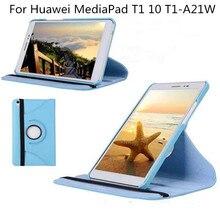 """Para Huawei MediaPad 10 T1 T1-A21W T1-A21L T1-A23L 9.6 """"Tableta Caso 360 Soporte Giratorio de la Cubierta de Cuero Del Soporte Del Tirón"""