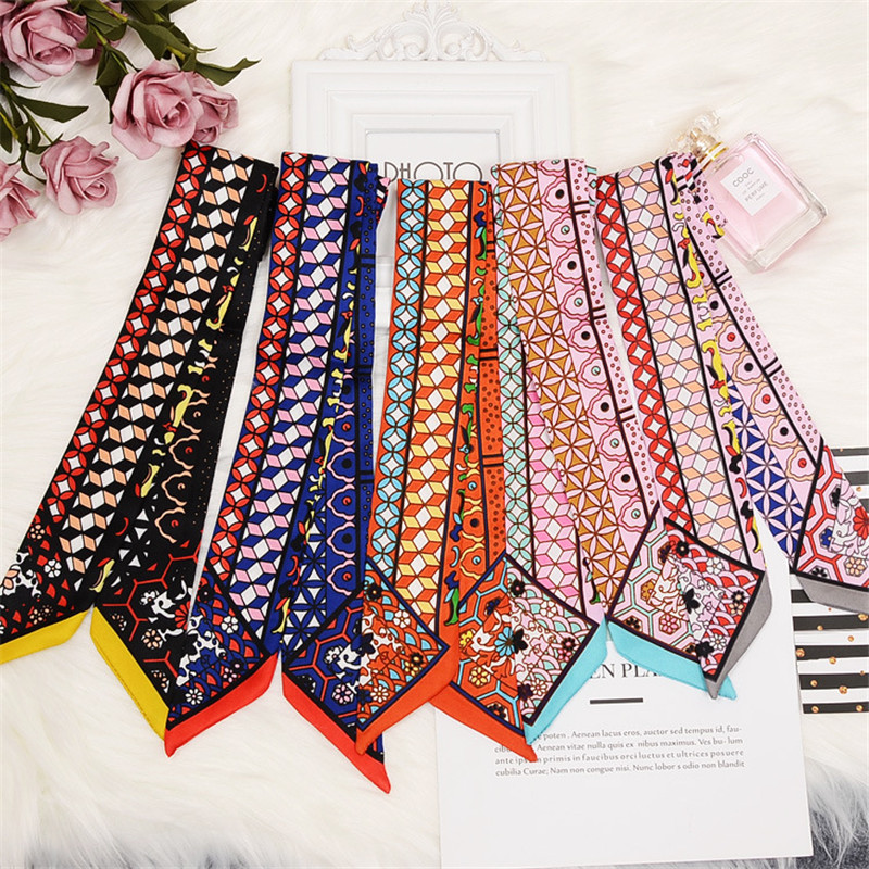 2019 Fashion Long Skinny   Scarf   New Print Women Silk   Scarf   Small Handle Bag Ribbons Female Head   Scarves     Wraps   Girls Neck   Scarf