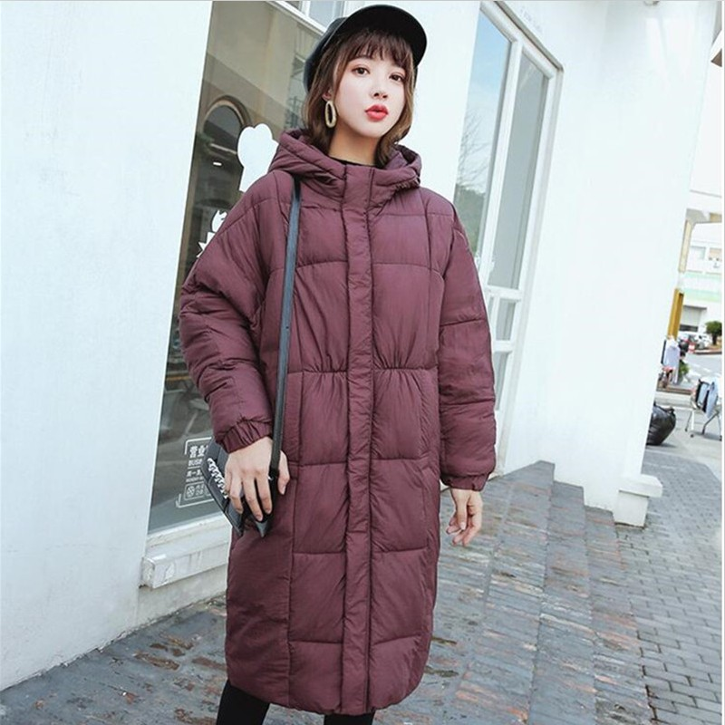 2019 New Winter Plus Size Loose Padded Slim Long   Parkas   Fashion Hooded Zipper Solid Long Jackets Thick Cotton Wide-Waist Coats