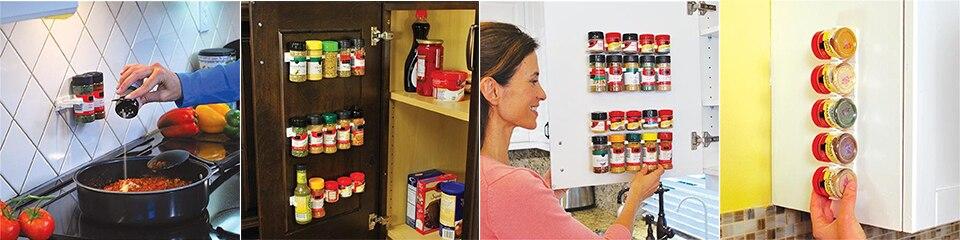 20 PC SET New Kitchen Clip Spice Gripper Jar Rack Storage Holder Wall Cabinet Door Storage Racks Kitchen Tools Bathroom Shelves (3)