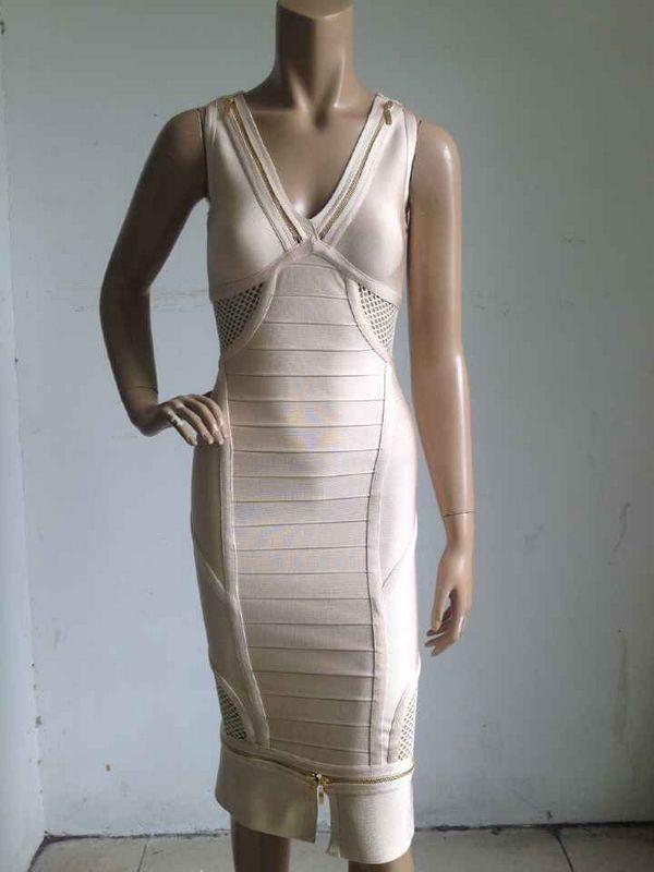 High Quality Nude Color Fashion Bodycon Dress Sleeveless V