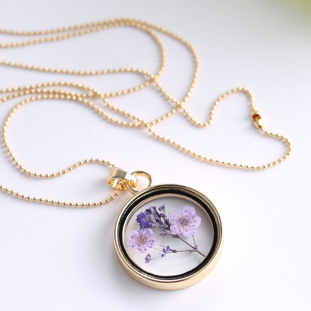 Memory locket gold chain necklaces pendants air purple dried memory locket gold chain necklaces pendants air purple dried flower necklace glass pendant necklace for woman jewerly in pendant necklaces from jewelry mozeypictures Gallery